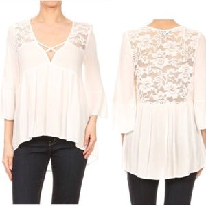 Tops - ‼️ONE LEFT ‼️ Off white lace tunic